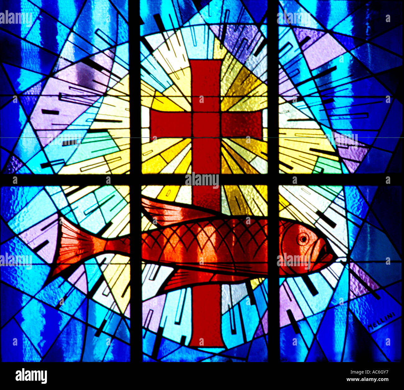 Glass Fish Church Window Stock Photos & Glass Fish Church Window ...