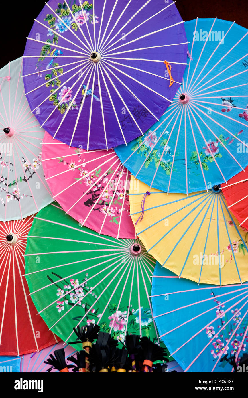 paper umbrellas in China Town of Hong Kong, a traditional Chinese art form, very colorful and artistic - Stock Image