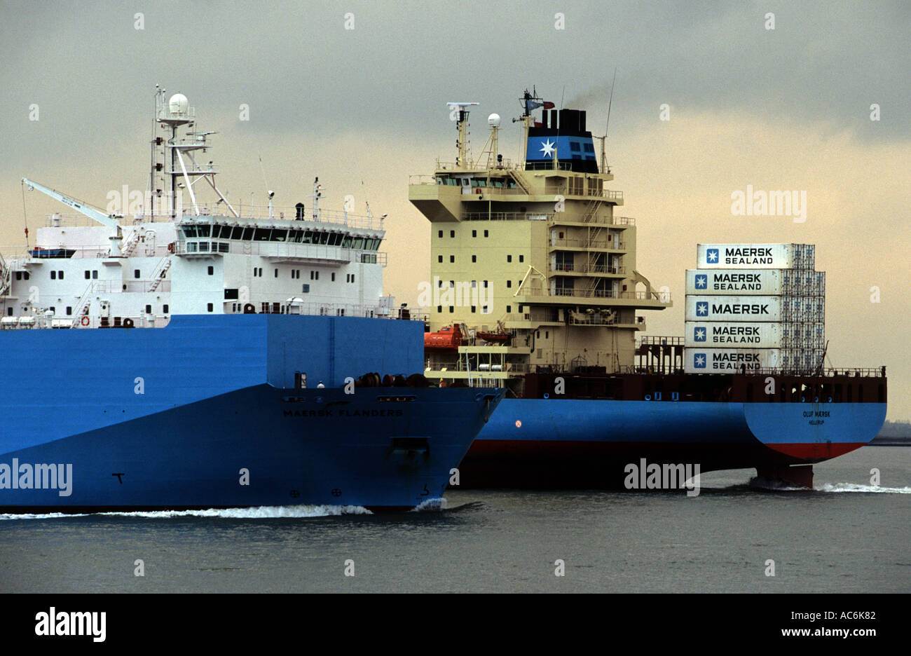 Maersk container ships, Port of Felixstowe, Suffolk, UK. - Stock Image