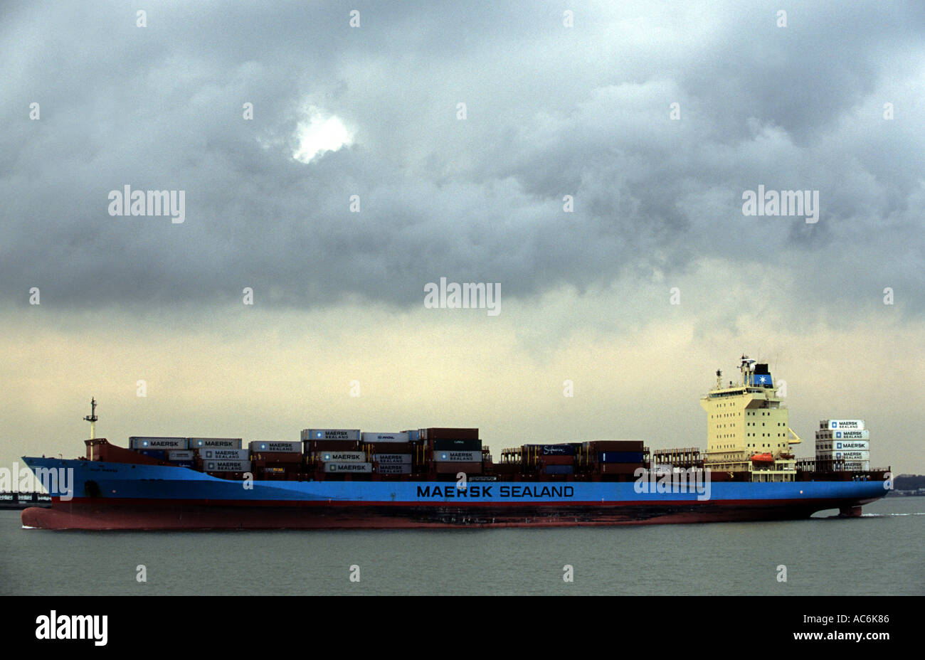 Maersk Sealand container ship 'Oluf', Port of Felixstowe, Suffolk, UK. Stock Photo