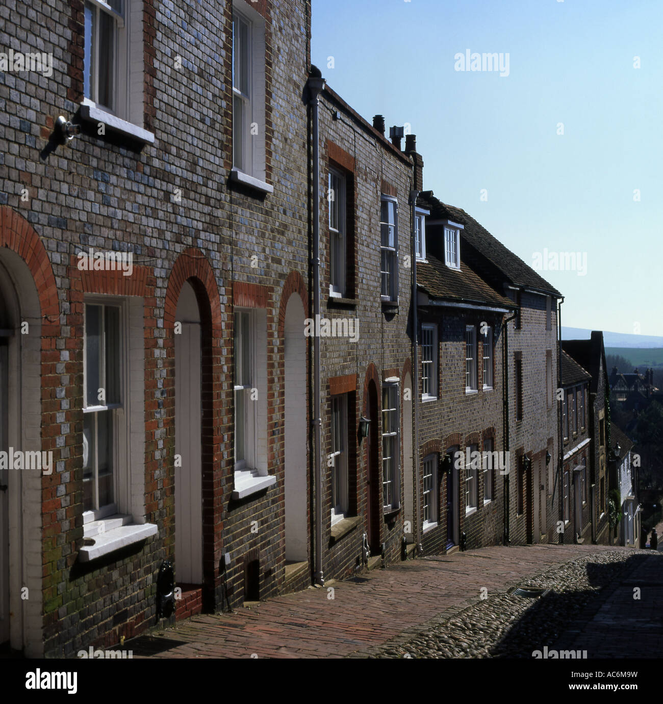Cobbled steep Keere Street in Lewes East Sussex England Stock Photo