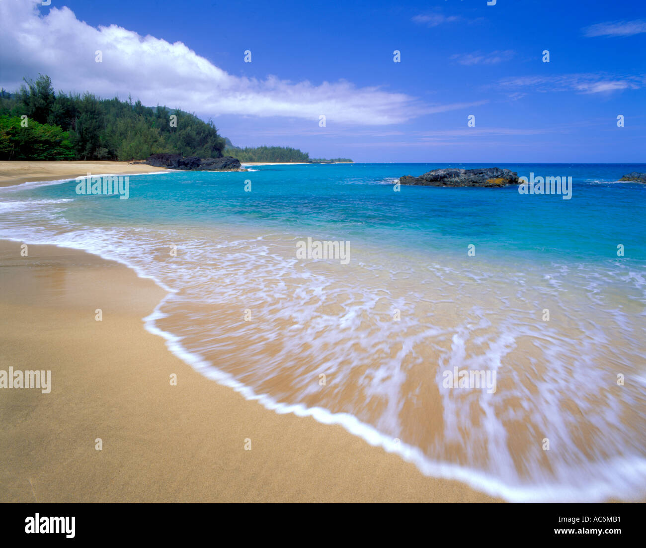 Kauai Beaches: Kauai, HI: Blue Waters And Gentle Surf Of Lumahai Beach