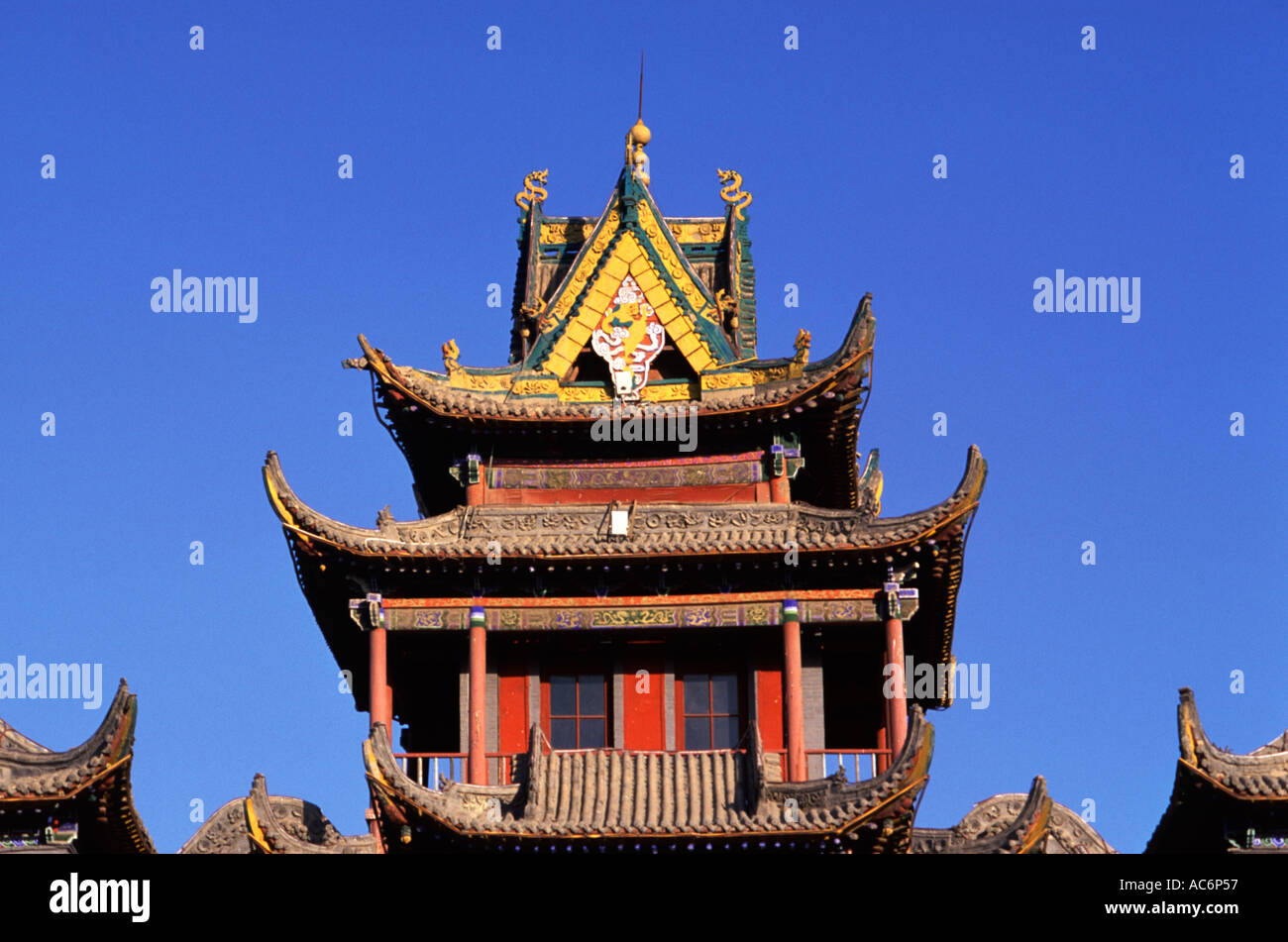 The Jade Emperor Pavilion Yu Huang Ge built originally during the Ming Dynasty in Yinchuan city capital of the Ningxia Stock Photo