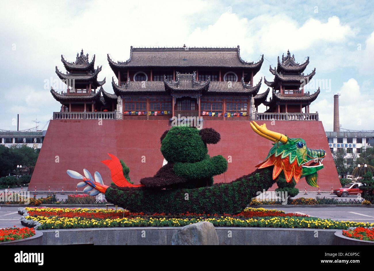 View of Gulou Drum Tower at Gulou Jie in Yinchuan city capital of the Ningxia Hui Autonomous Region, China Stock Photo