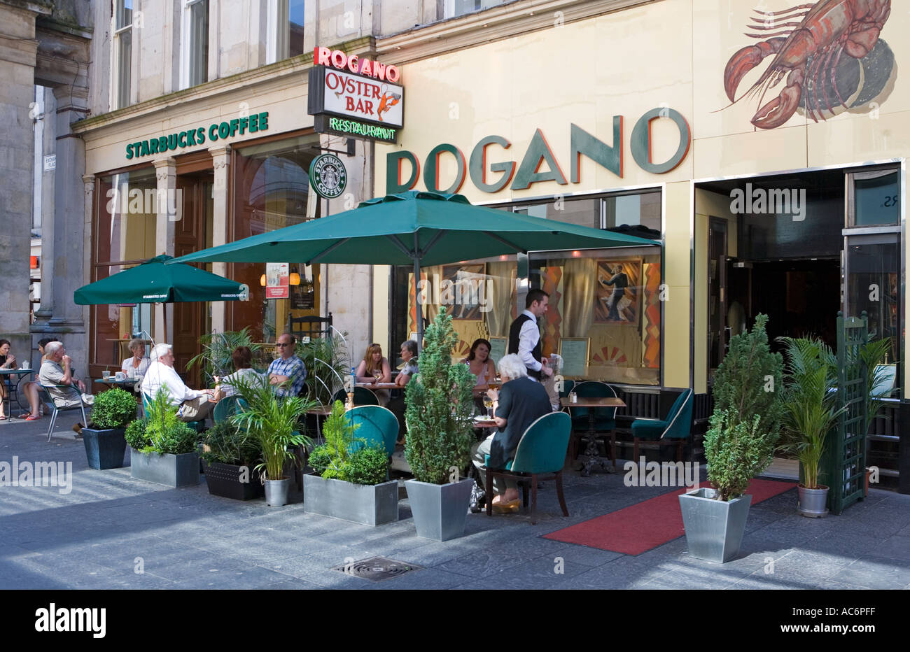 EXCHANGE PLACE GLASGOW AND THE ROGANO RESTAURANT - Stock Image