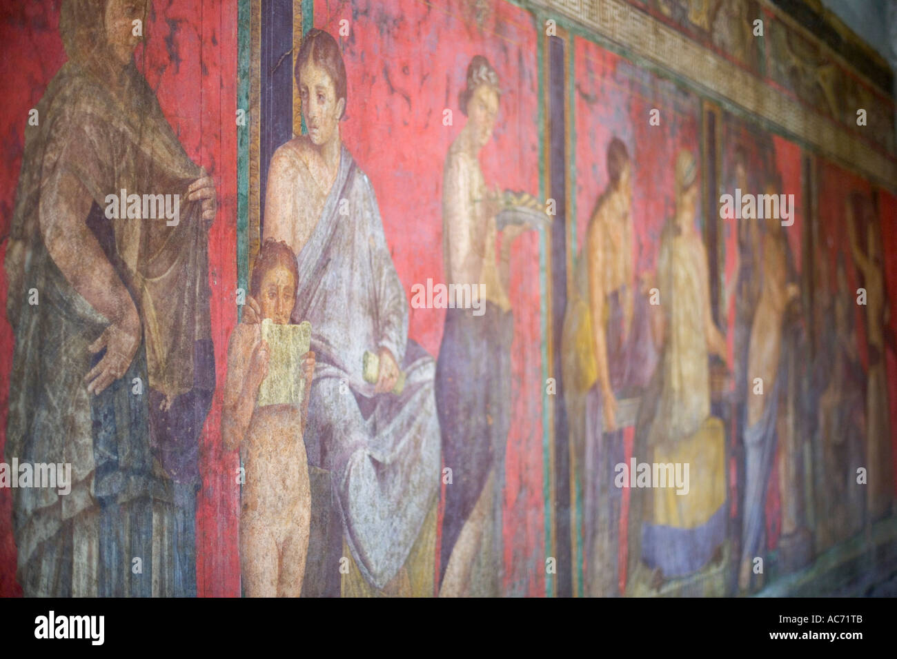 Mysteries fresco in the House of the Mysteries at pompeii italy - Stock Image