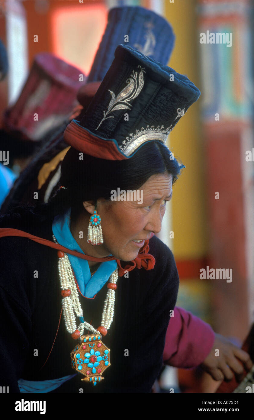6b934ec2f1d LADAKHI WOMAN necklace and gau box with seed PEARL coral TURQUOISE gold and  RUBIES TIKSE Monastery