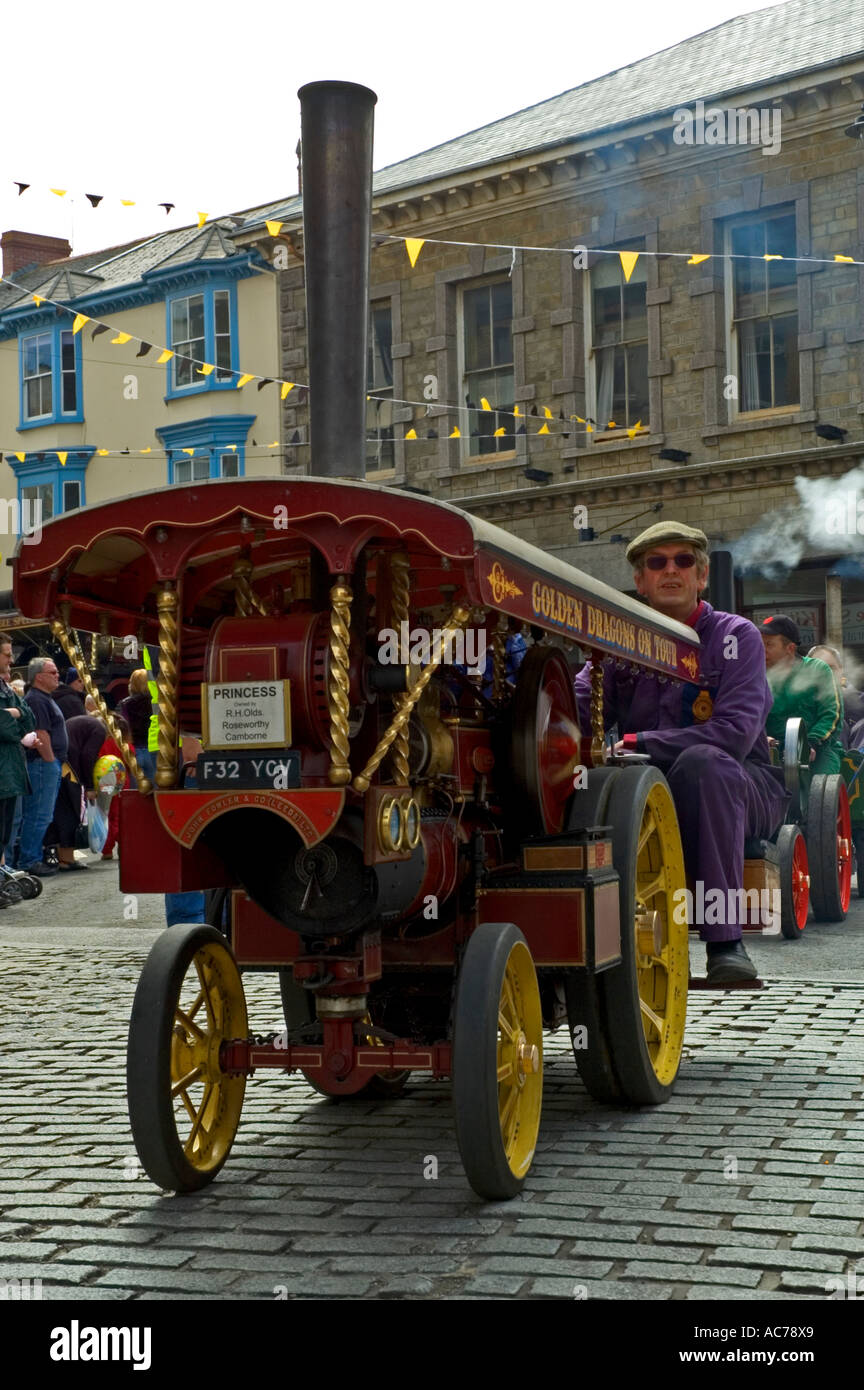 a mini traction engine at the richard trevithick day celebrations in camborne,cornwall,england - Stock Image