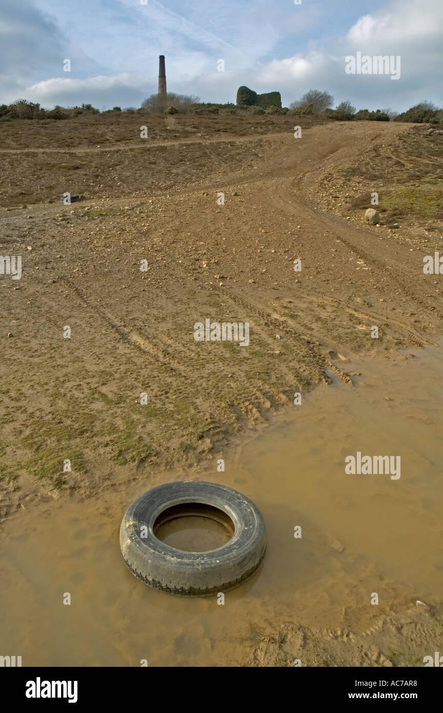 mining wasteland in cornwall,england - Stock Image