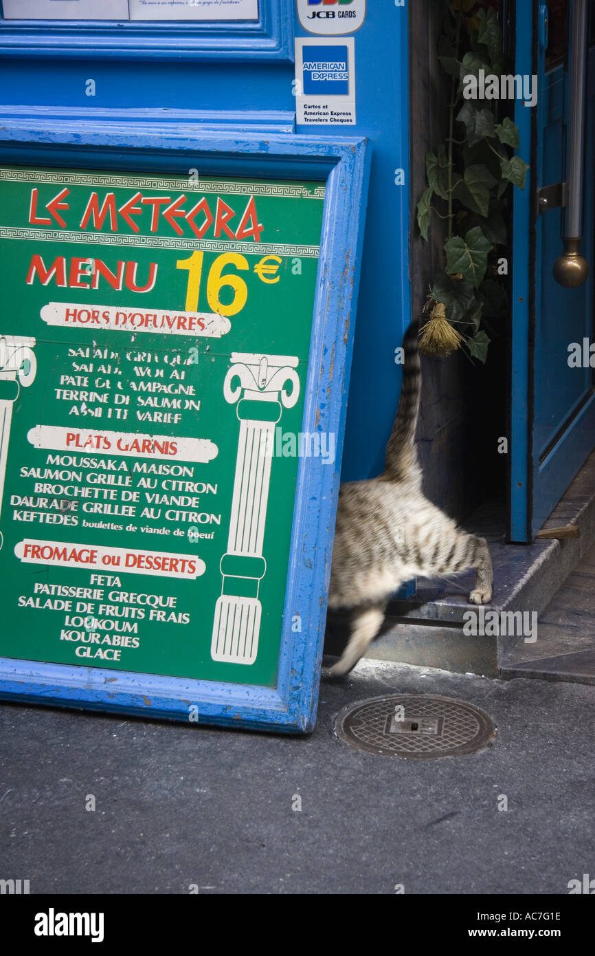 Tabby cat does disappearing act behind menu sign of Greek Restaurant on Rue de La Huchette near Place St Michel Paris France - Stock Image