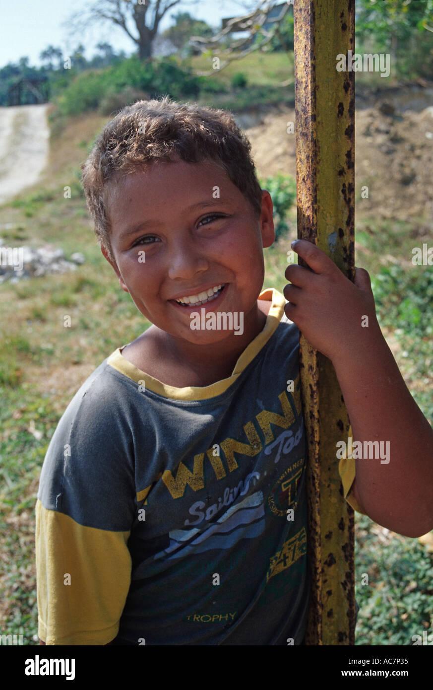 Portrait of a happy Cuban child Cardenas Cuba - Stock Image