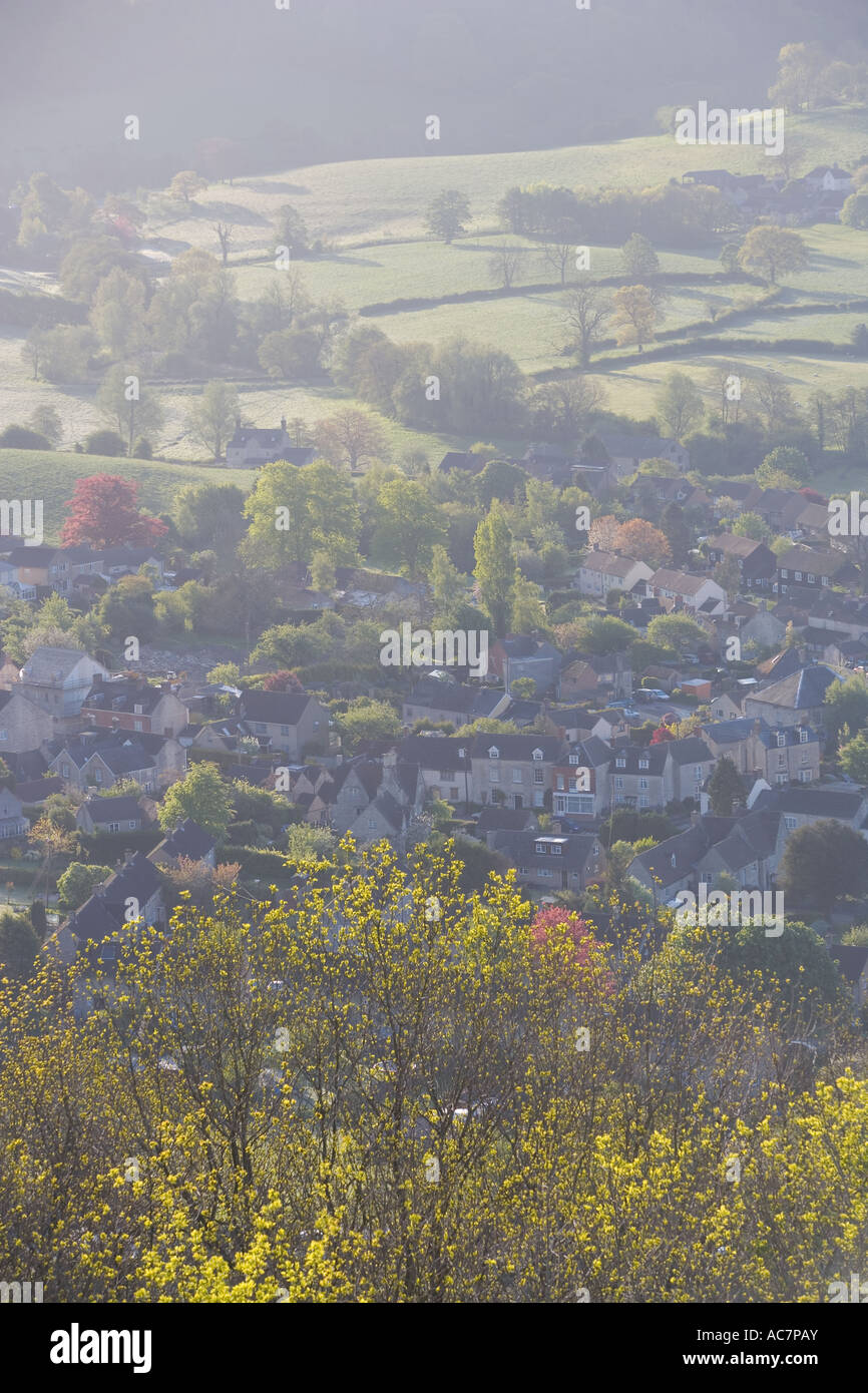 Views over houses from Uley Bury, Uley, Gloucestershire, UK - Stock Image