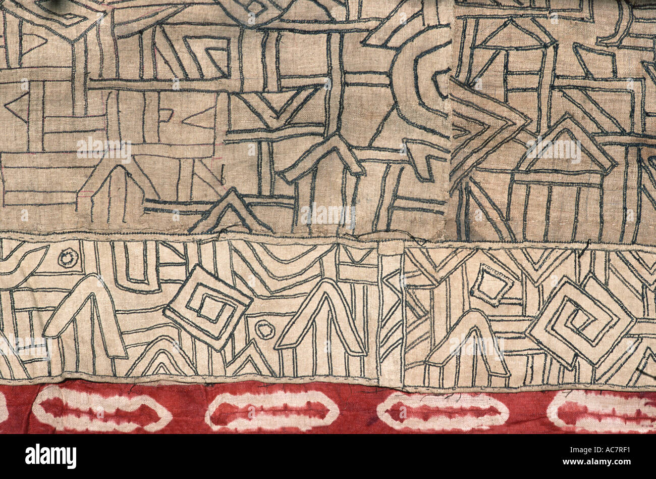 Woven raffia textile from The Democratic Republic of Congo DRC formerly known as Zaire Kuba tribe Applique decoration Stock Photo