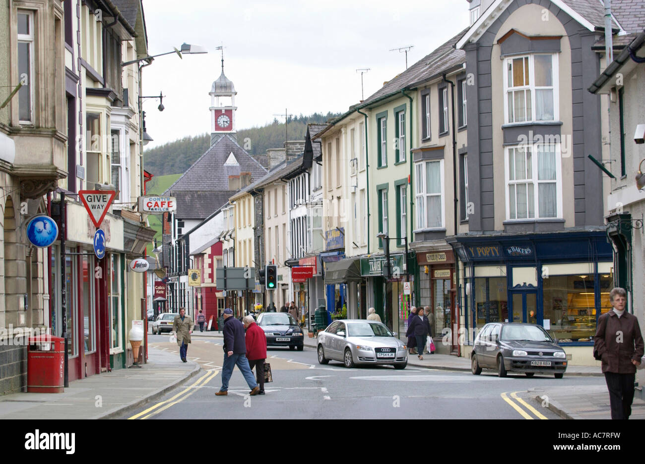 General View Of Main Shopping Street In Town Centre Of Lampeter