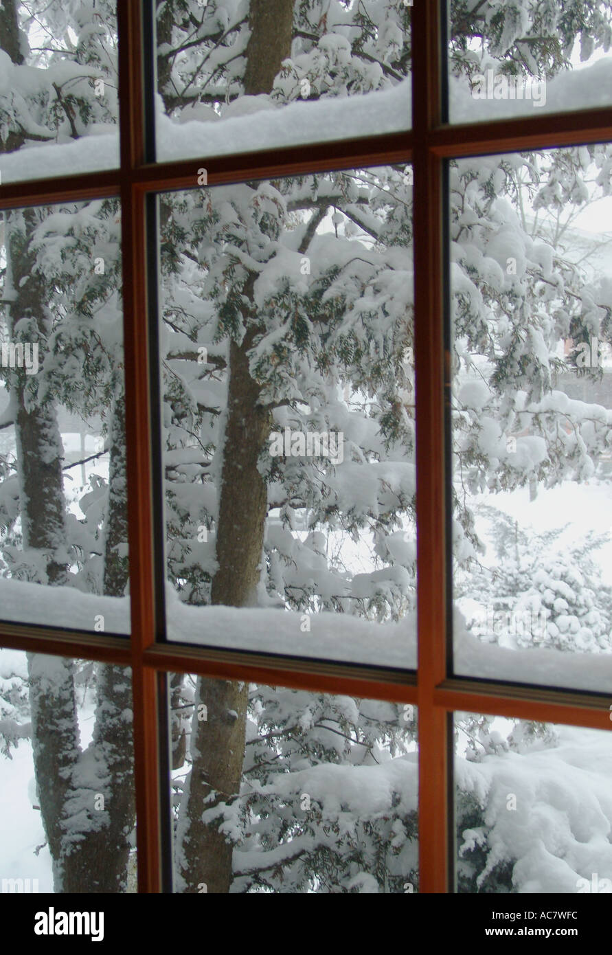 View Through A Cabin Window Of Fresh Fallen Snow Stock Photo