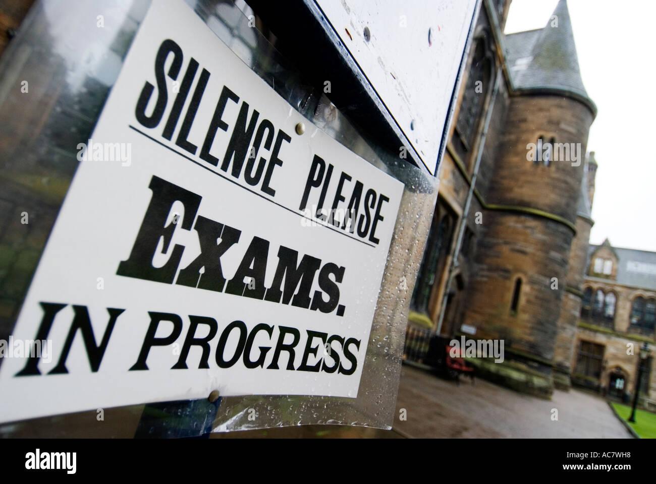 Sign warning of Exams in Progress at Glasgow University 2006 - Stock Image