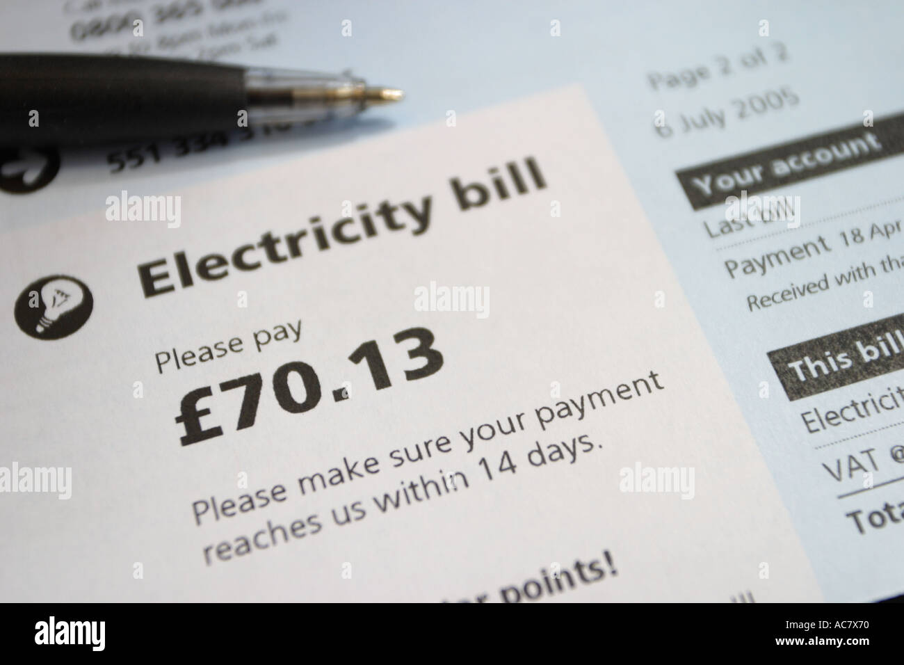 Domestic electricity fuel bill - Stock Image
