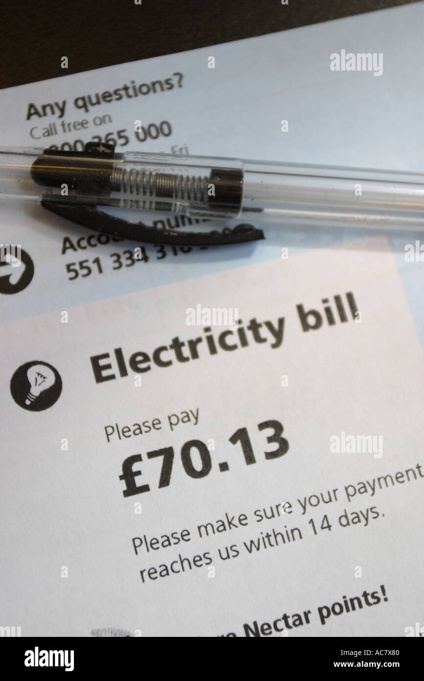 Domestic electricity bill - Stock Image