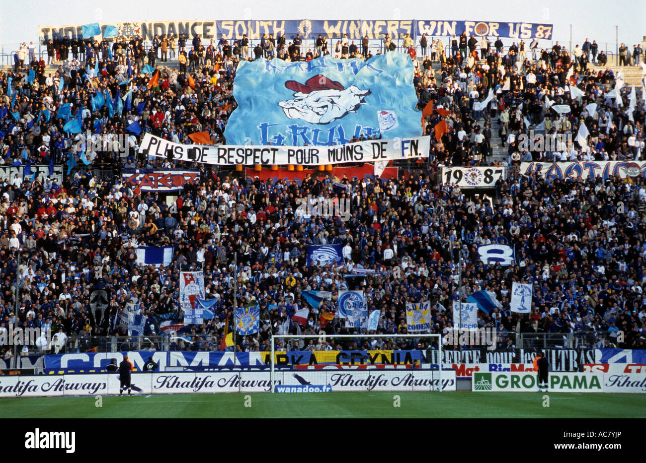 Supporters of Olympique Marseille at the Stade Velodrome, Marseille, France. - Stock Image