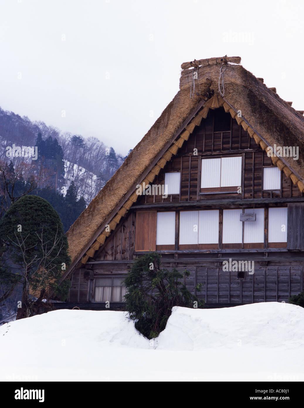 Shirakawa-go UNESCO world heritage site. Gassho-zukuri traditional thatched houses - Stock Image