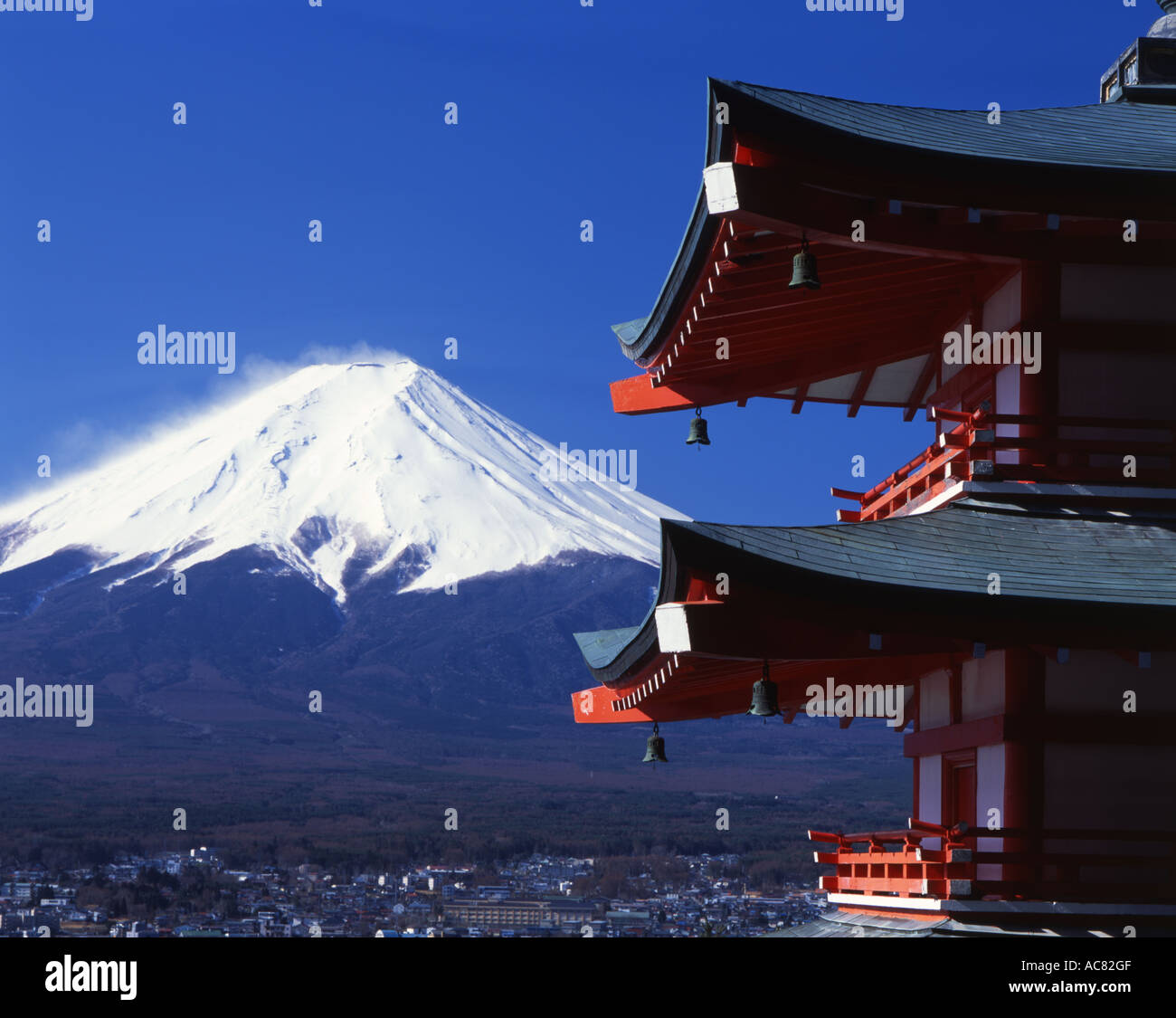Chureito Pagoda and Mount Fuji, Japan's highest mountain. Looking from Fuji Yoshida side - Stock Image