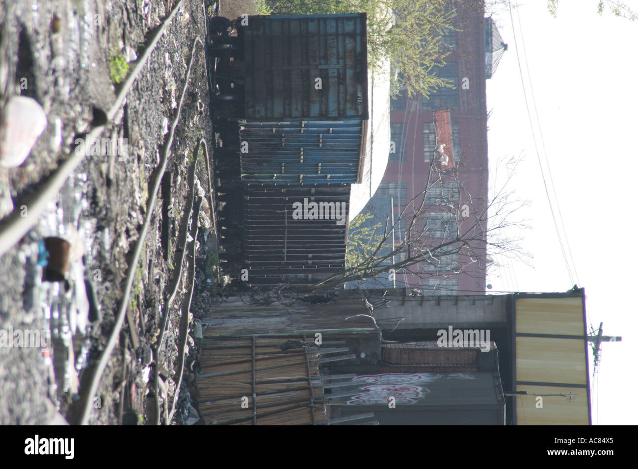 Train yard,abandon abandoned caboose container day dirt dirty disco volante filth garbage industrial metal outdoor - Stock Image