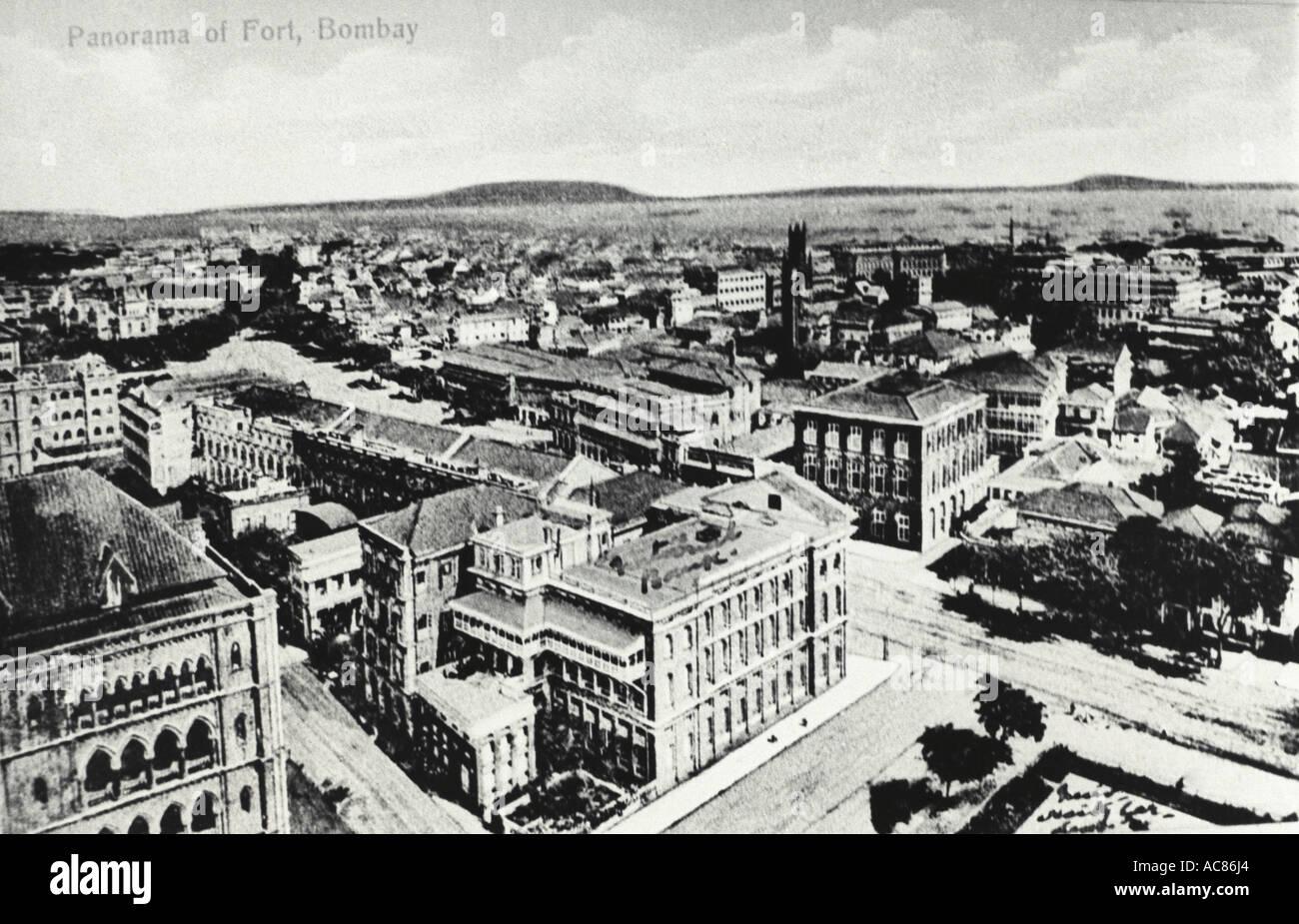 VDA78057 Aerial view of fort old Bombay black white Bombay now Mumbai Maharashtra India - Stock Image