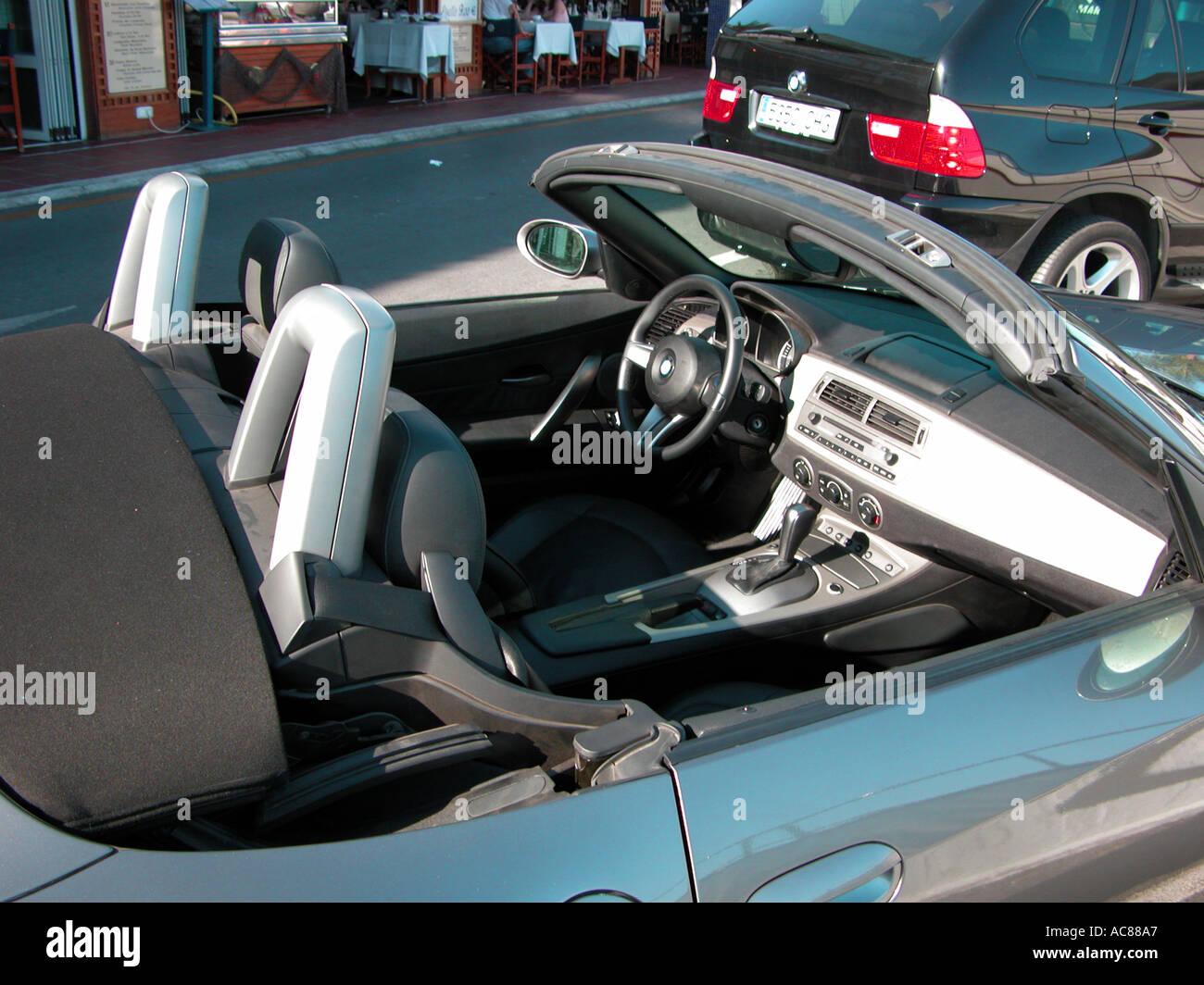 BMW Soft Top Convertible at Puerto Banus Málaga Province Spain - Stock Image