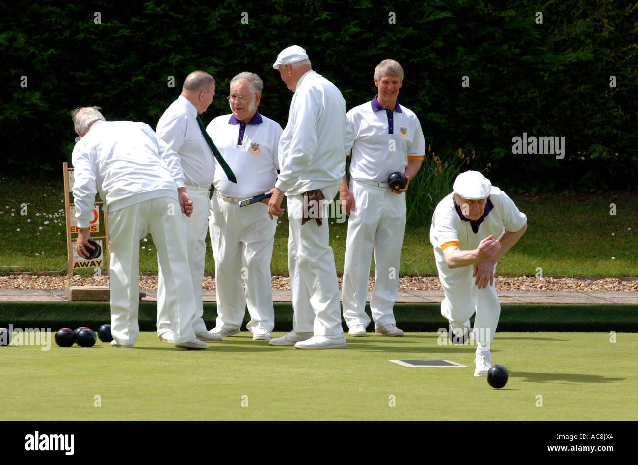 Bowls, Lawn bowls sport, Britain UK - Stock Image