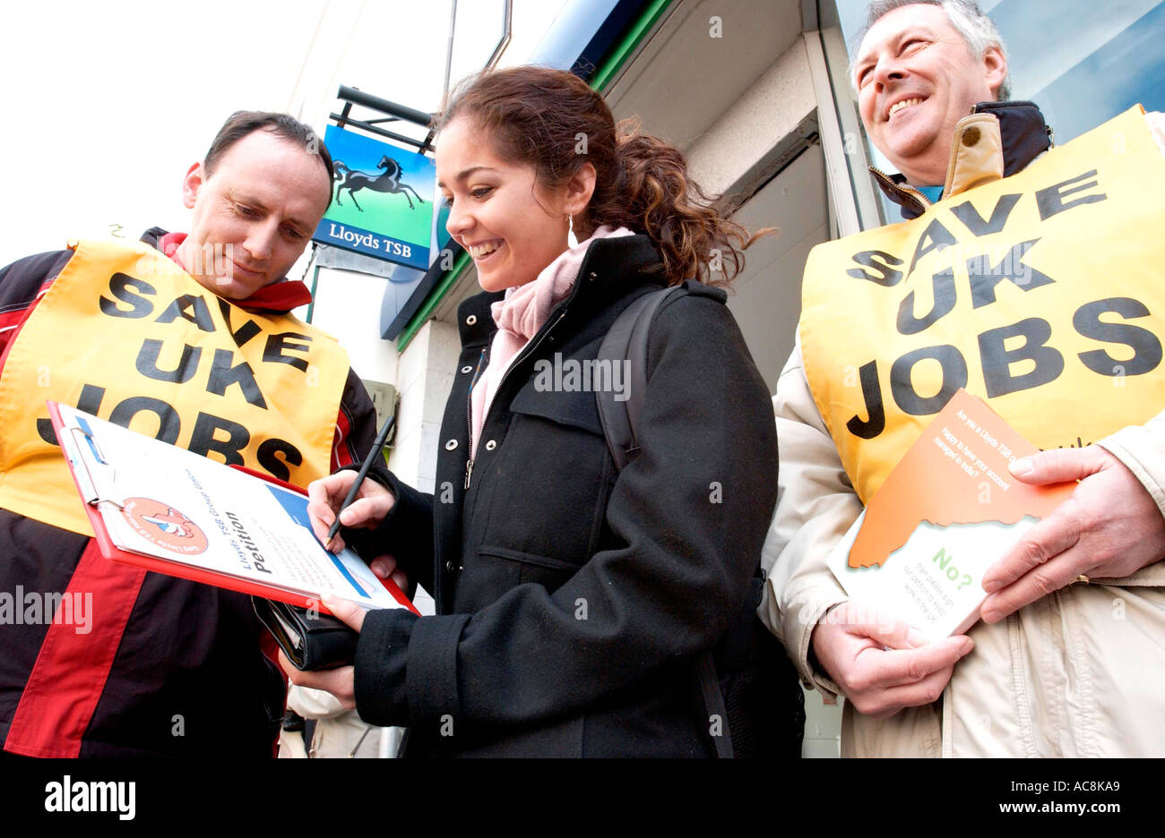 Trade union members protest about UK jobs being lost abroad to foreign workers - Stock Image