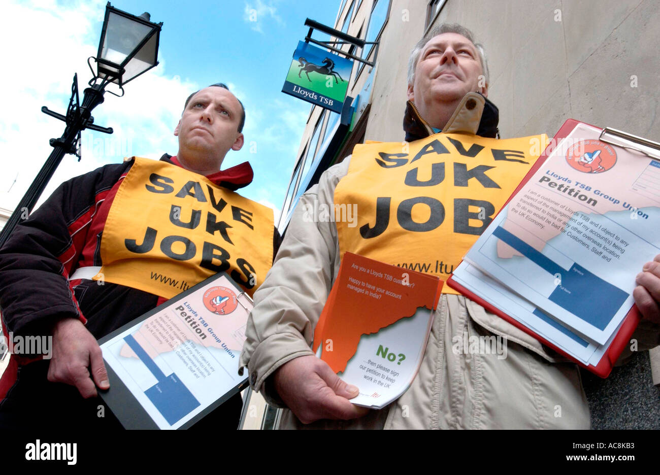 Trade union members protest about jobs being lost abroad - Stock Image