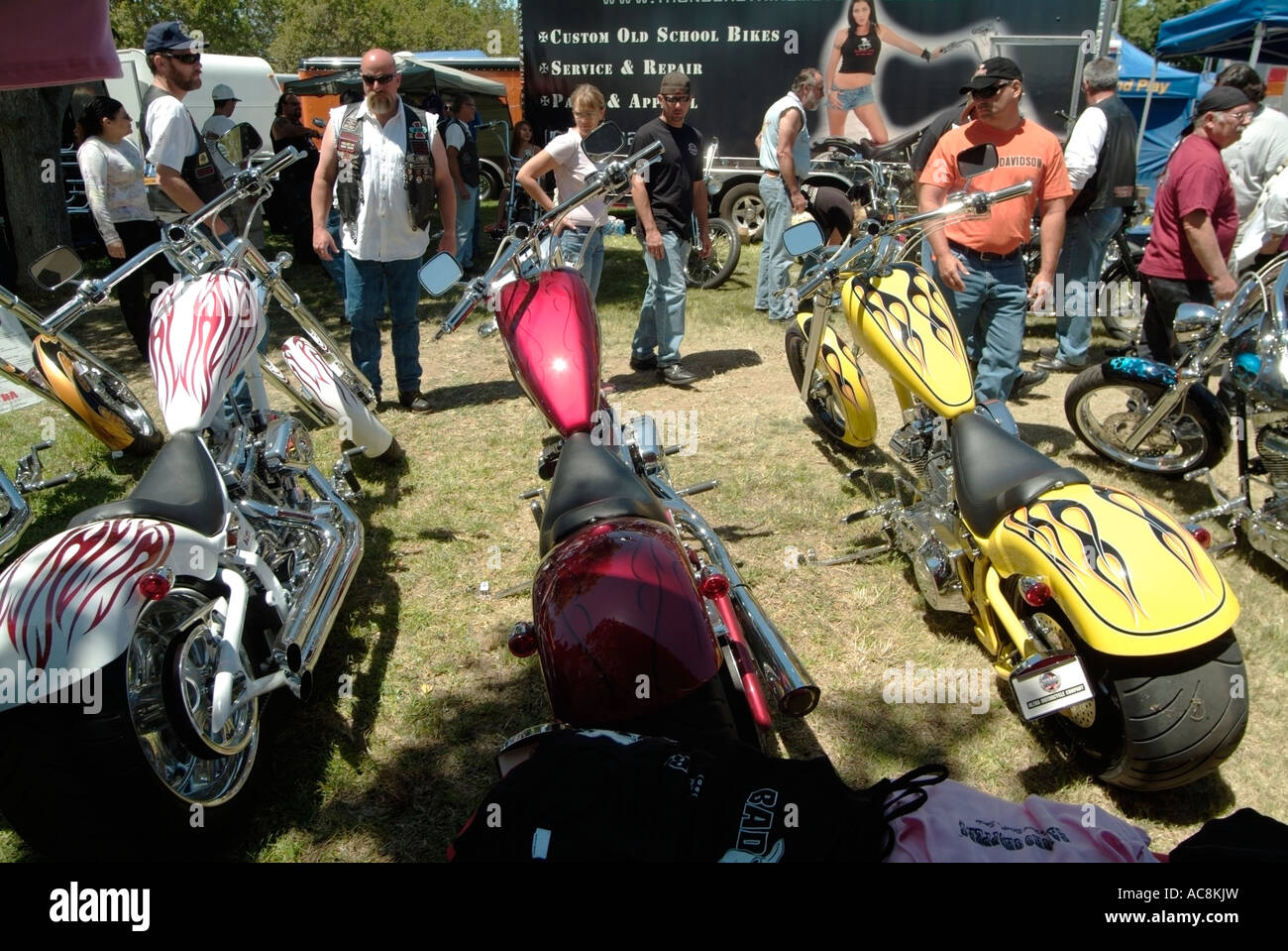 Bikers looking at Bad Pig custom Choppers on sale  Photo by Chuck