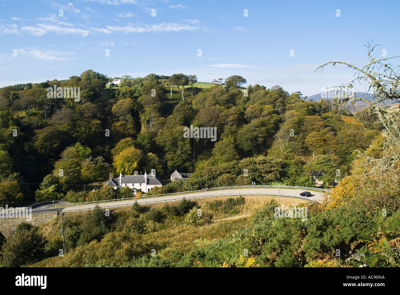dh A9 North Coast 500 BERRIEDALE CAITHNESS Motor car travelling Berriedale bend scotland scenic road route - Stock Image