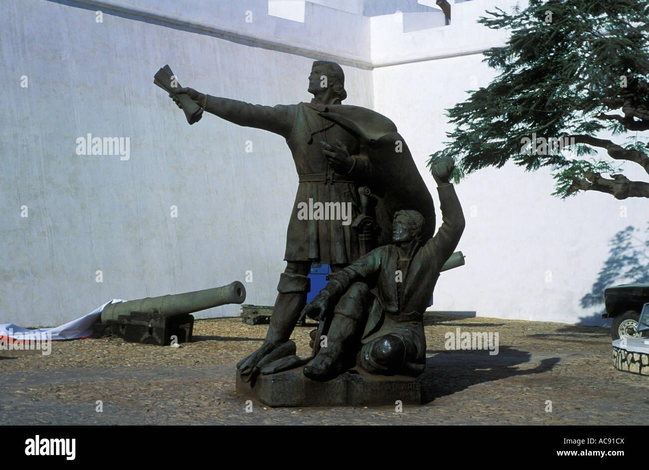 Statue at fort Luanda; Angola - Stock Image