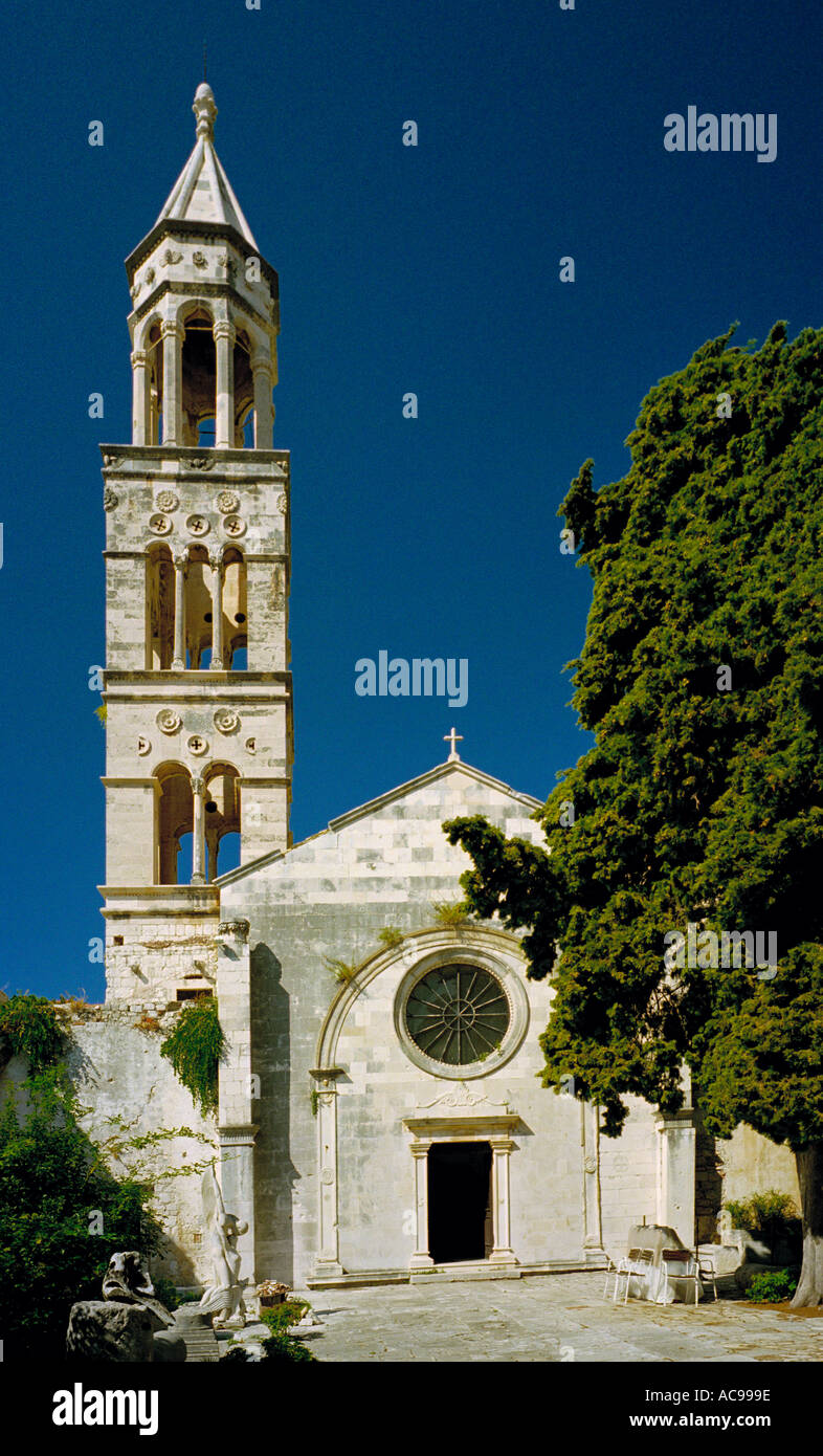 The Venetian church of St Mark , containing an archaeology museum, on the island of Hvar off the Dalmatian coast of Croatia - Stock Image