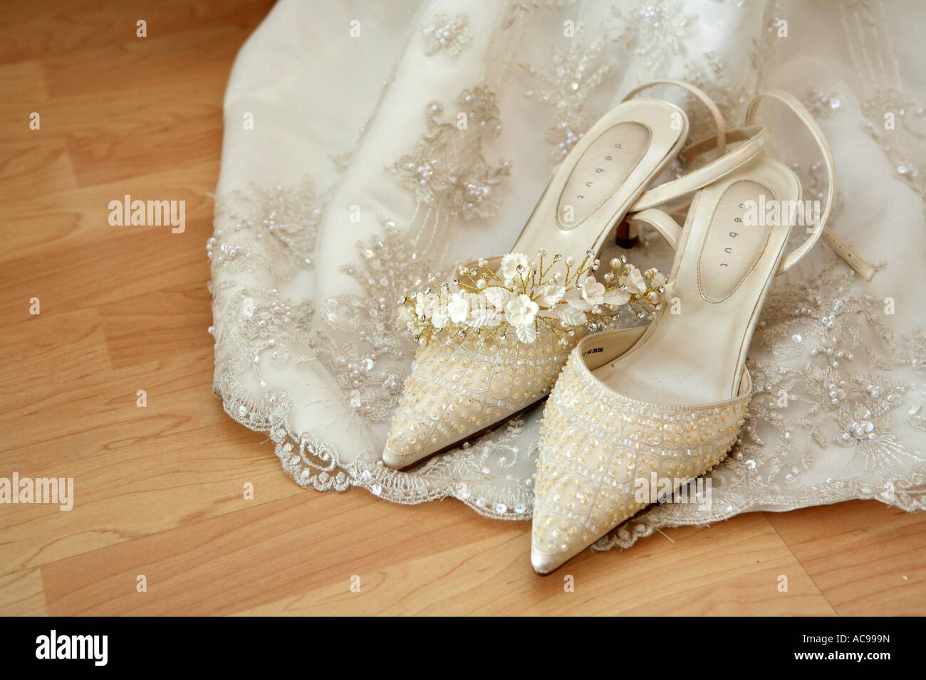 Expensive bridal wedding shoes resting