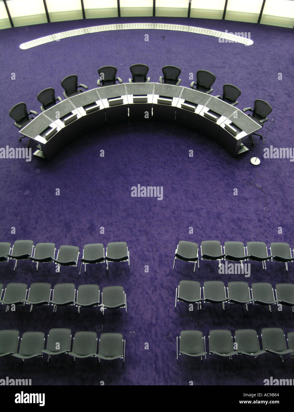 Chairs in the assembly hall of the City Hall GLA building in London England UK - Stock Image