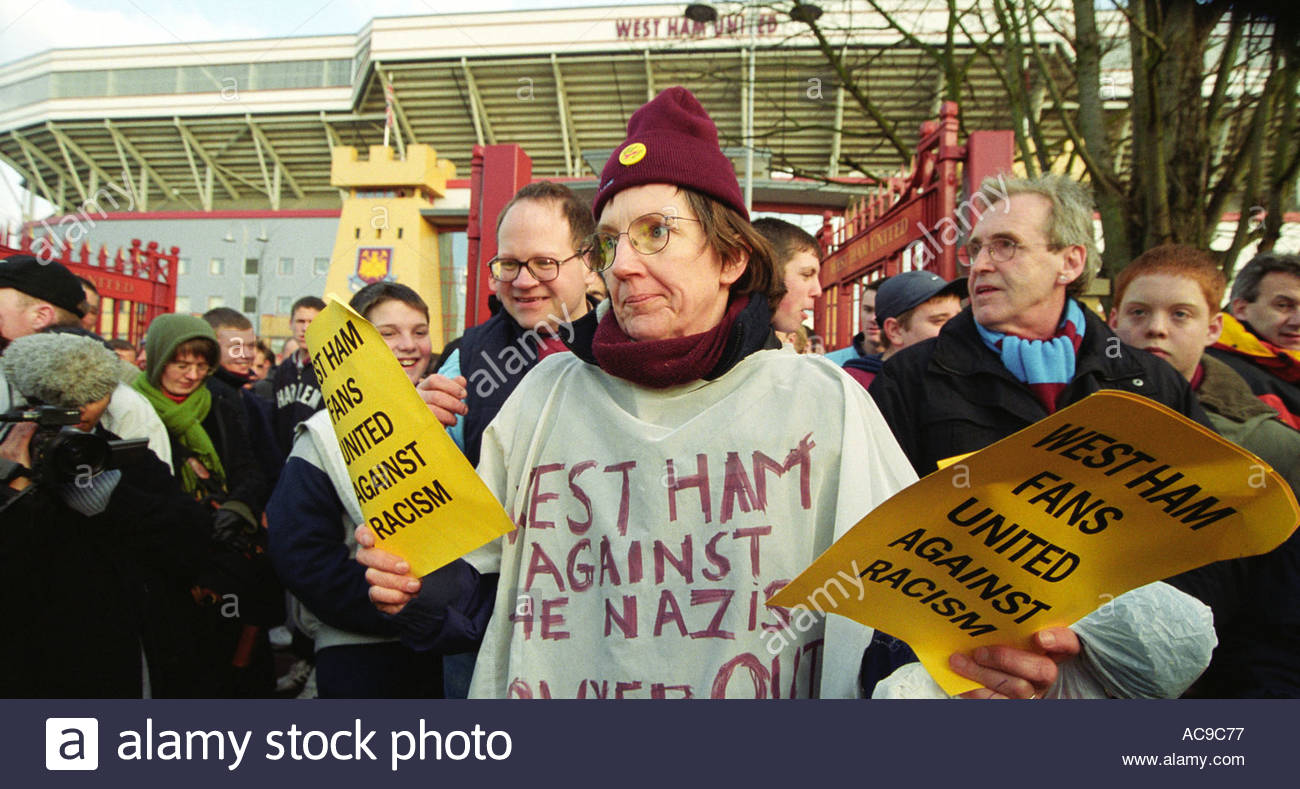 West Ham Against Racism protest outside football ground at signing of Lee Bowyer accused of racist attack in Leeds - Stock Image