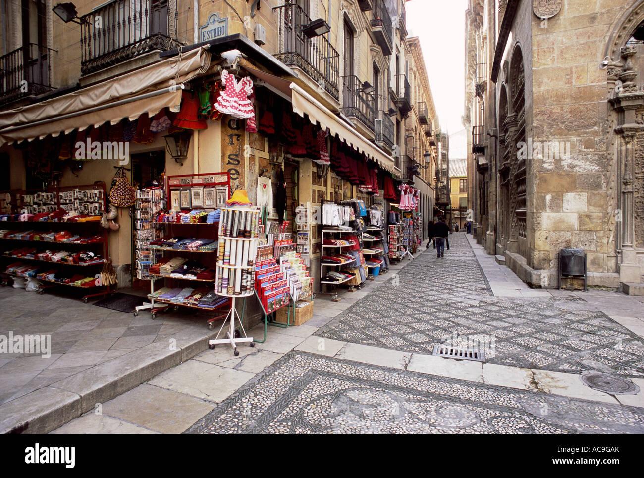 Narrow street and shop in the Alcaiceria moorish quarter of Granada