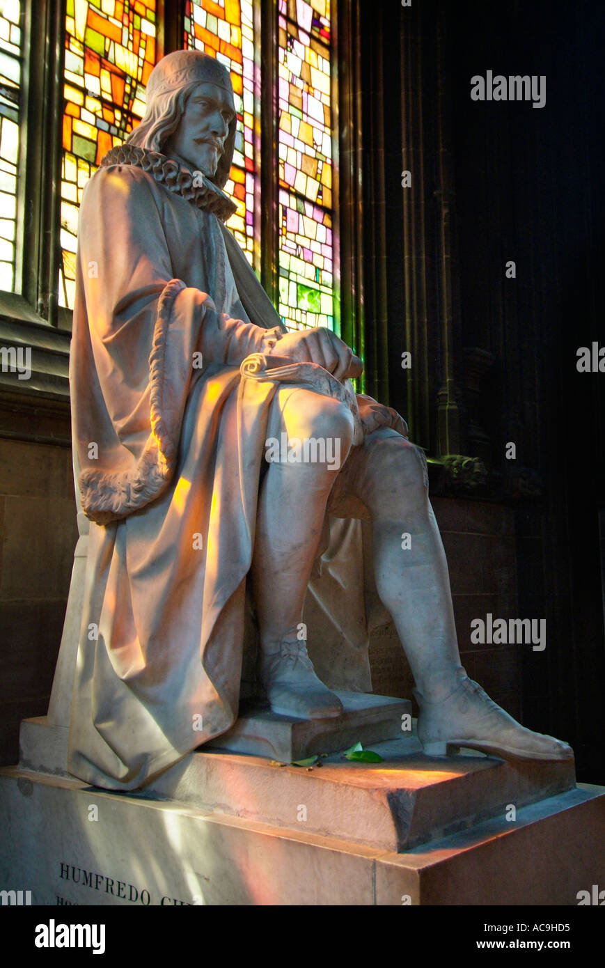 Statue inside Manchester Cathedral City Centre North West UK GB EU Europe - Stock Image