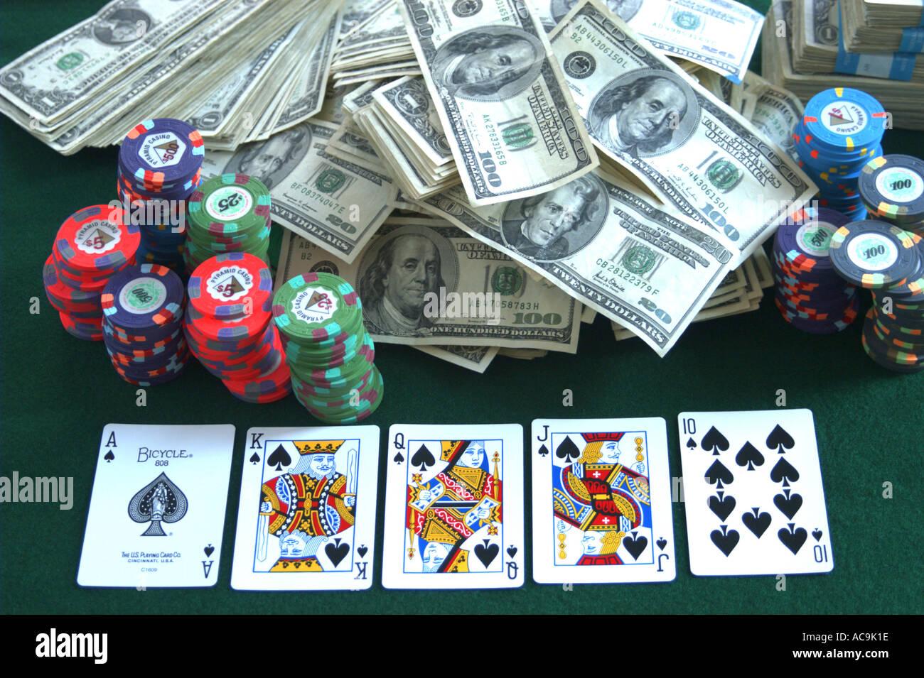 Gamblers Gaming Table Chips Dollars Stake Stock Photos
