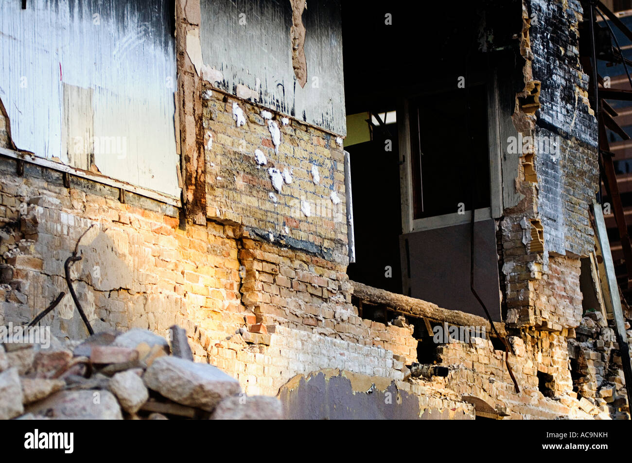 Building Partially Demolished After Fire - Stock Image