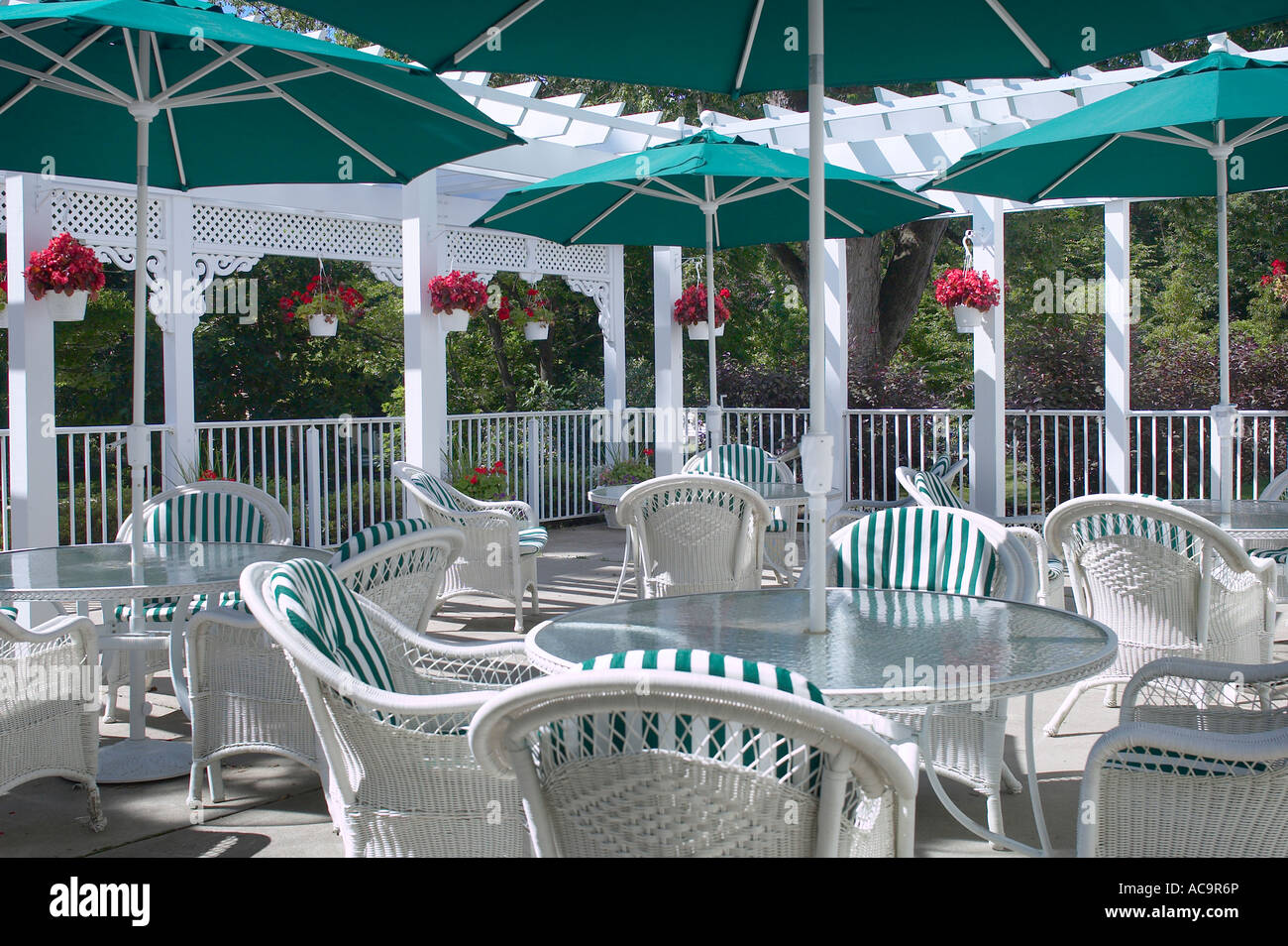 Restaurant Patio Deck With Chairs Tables Umbrellas Outside On A Summer Day,  USA