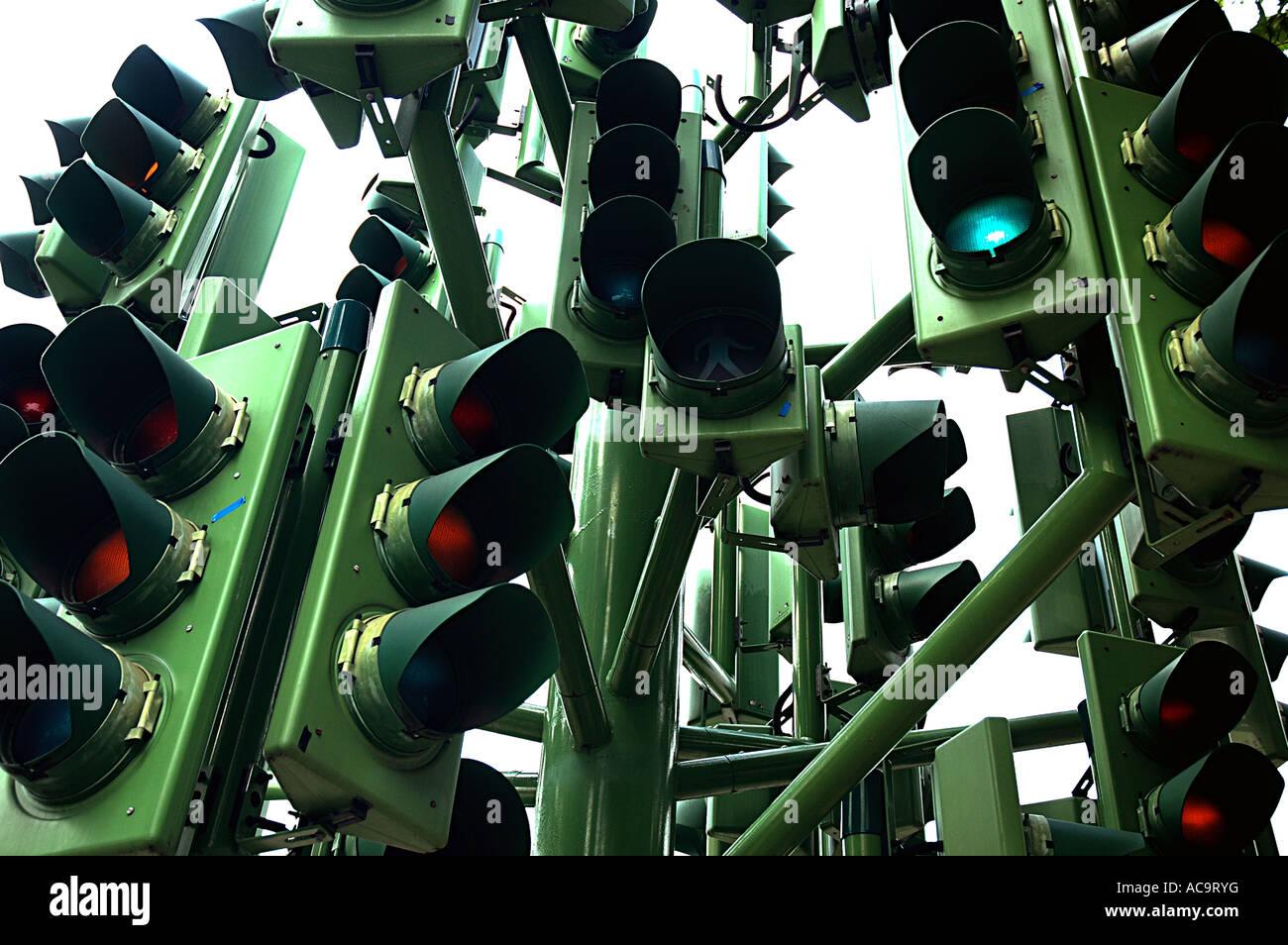 The Traffic Light Tree, Pierre Vivant 1998. - Stock Image