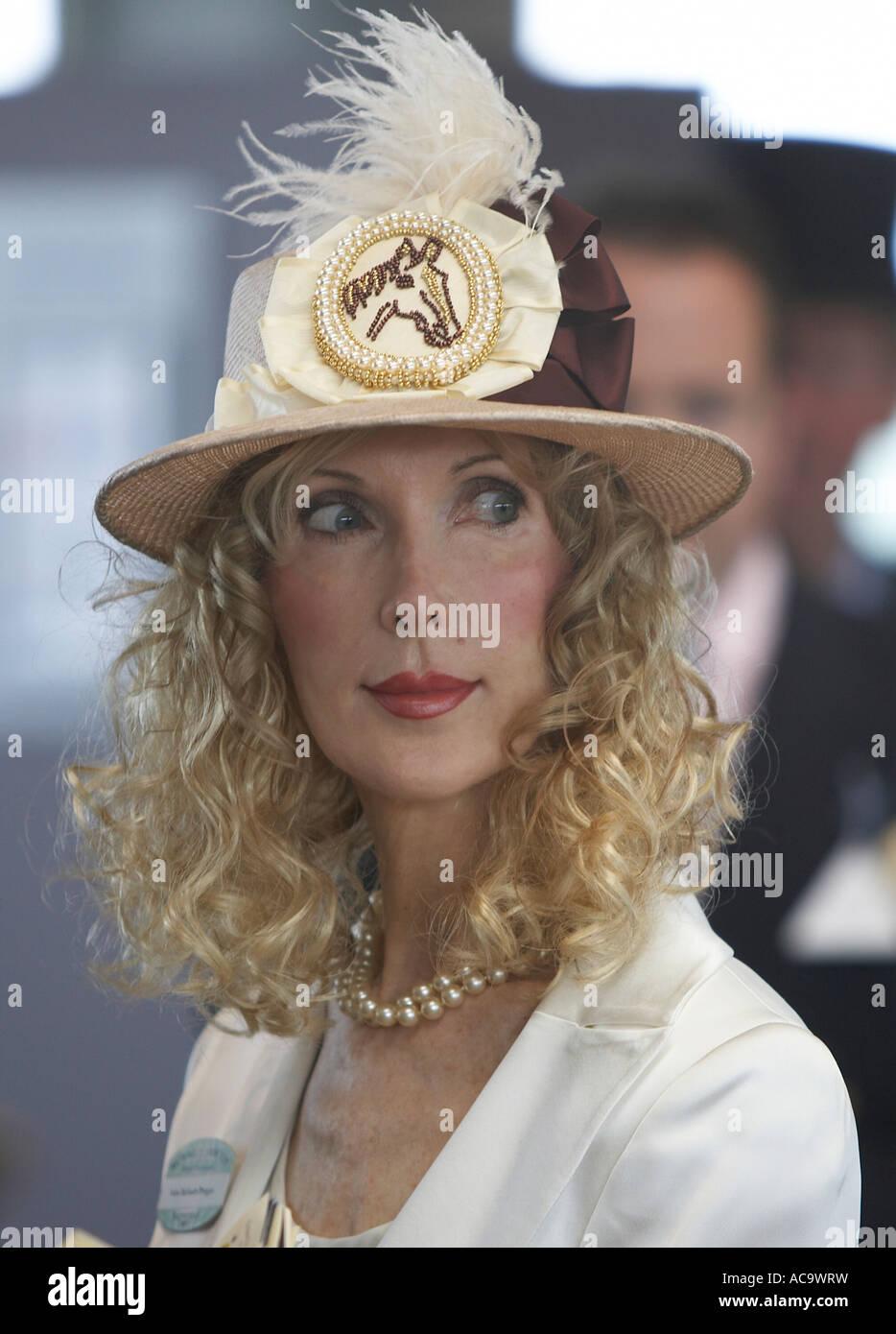 A horsey lady at Royal Ascot - Stock Image