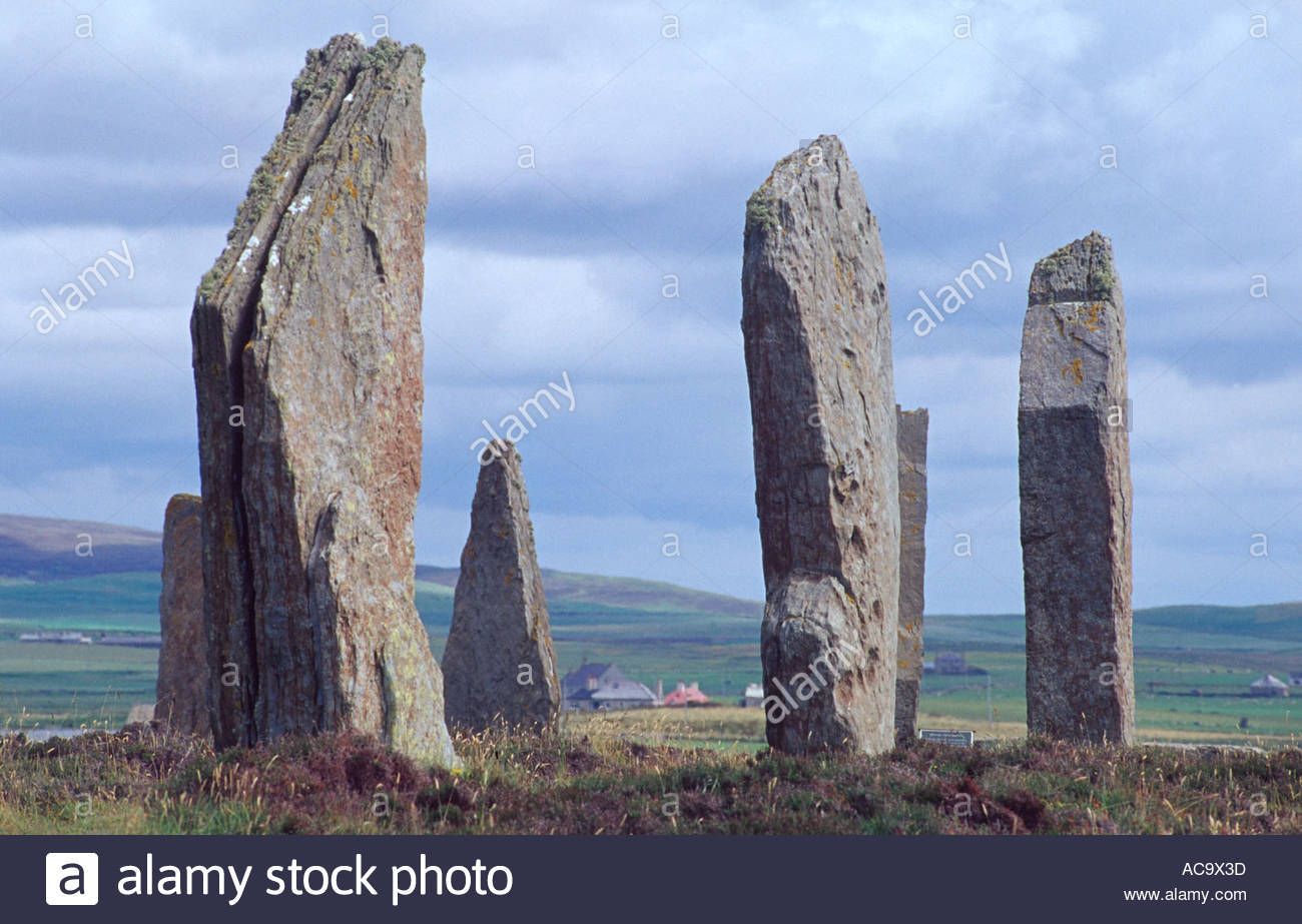 The Ring of Brodgar, standing stones from 2500BC, Mainland, Orkney Isles, Scotland - Stock Image