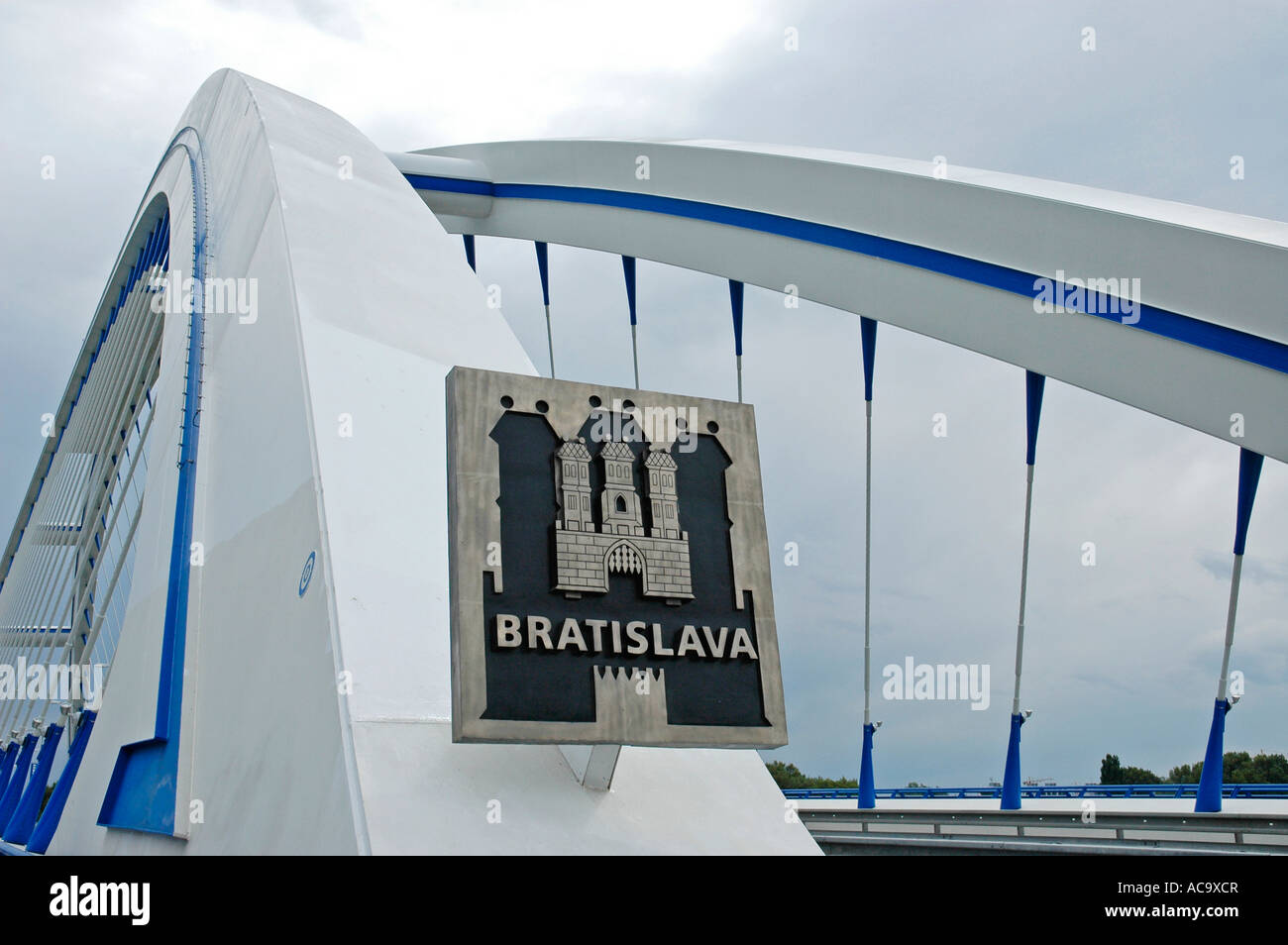 City coat of arms, Apollo bridge, Bratislava, Slovakia - Stock Image