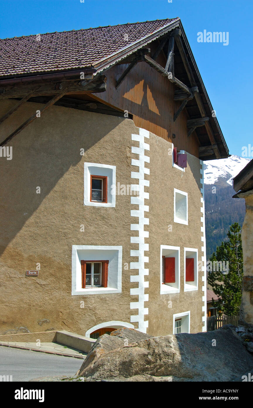 Front of a typical Engadine house decorated with Sgraffito ornaments, Zuoz, Engadin, Grisons, Switzerland Stock Photo