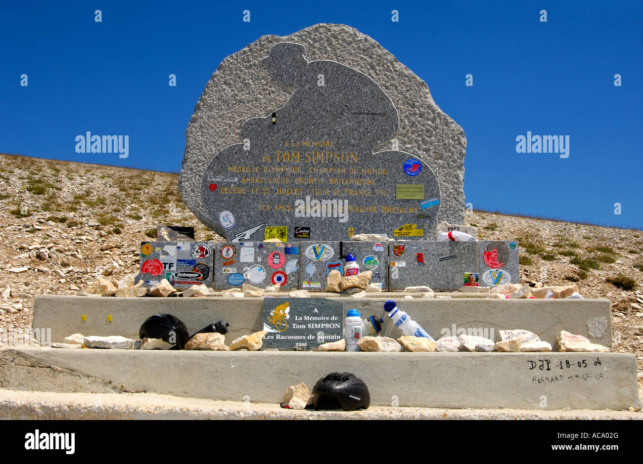 Memorial to Tom Simpson, first doping fatality at the Tour de France, Mont Ventoux, Provence, France - Stock Image