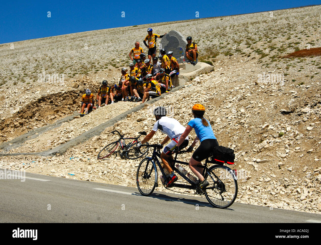 At the memorial to Tom Simpson, first doping fatality at the Tour de France, Mont Ventoux, Provence, France - Stock Image